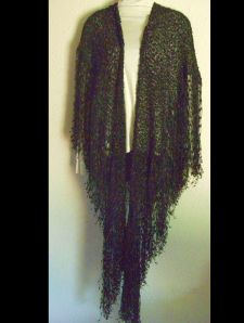 Front View of Black Trellis Shawl