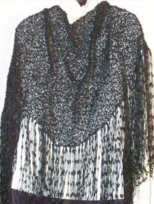 Back View of Black Trellis Shawl