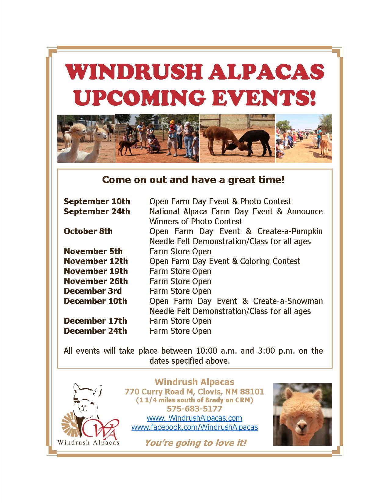 Upcoming events | A Taste of Life at Windrush Alpacas