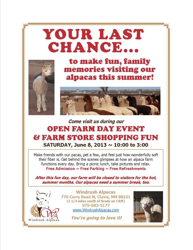 June 8, 2013 Open Farm Day