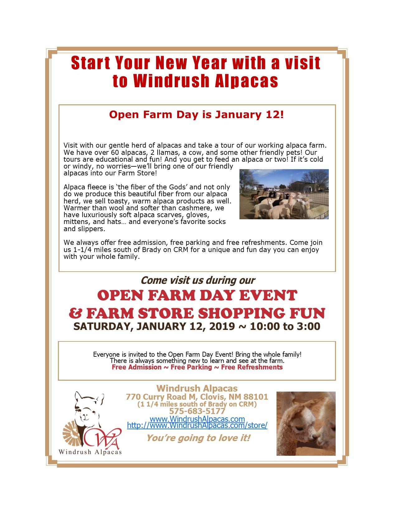 January 2019 Open Farm Day Flyer
