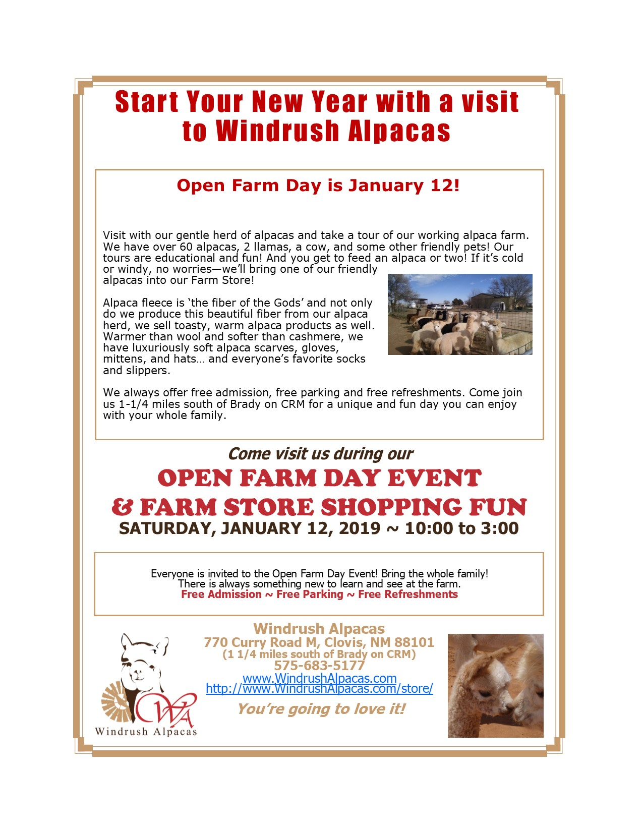 January 2019 Open Farm Day Flyer
