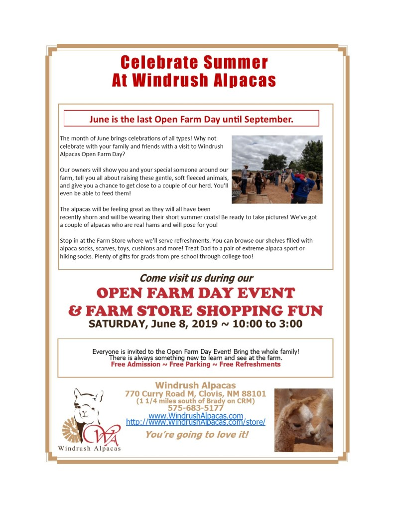 June 8 Open Farm Day at Windrush Alpacas