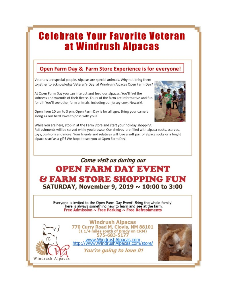 Celebrate Your Favorite veteran at Windrush Alpacas on November 9.