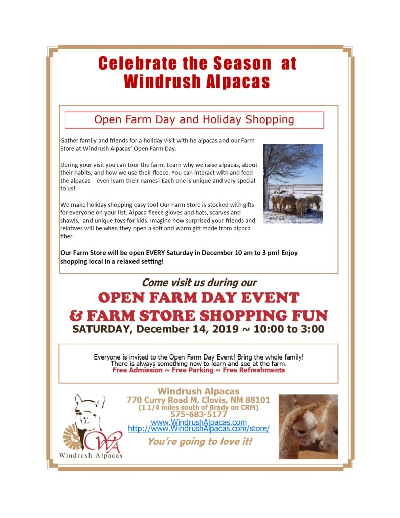 Celebrate the Season at Windrush Alpacas Open Farm Day Saturday December 14, 2019.
